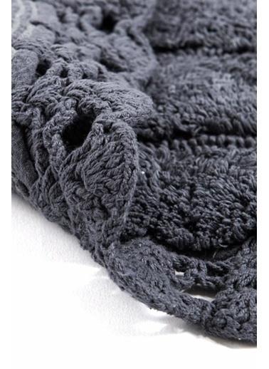 Giz Home Lace 2'li Set Klozet Takımı Oval Banyo Paspası Antrasit Antrasit
